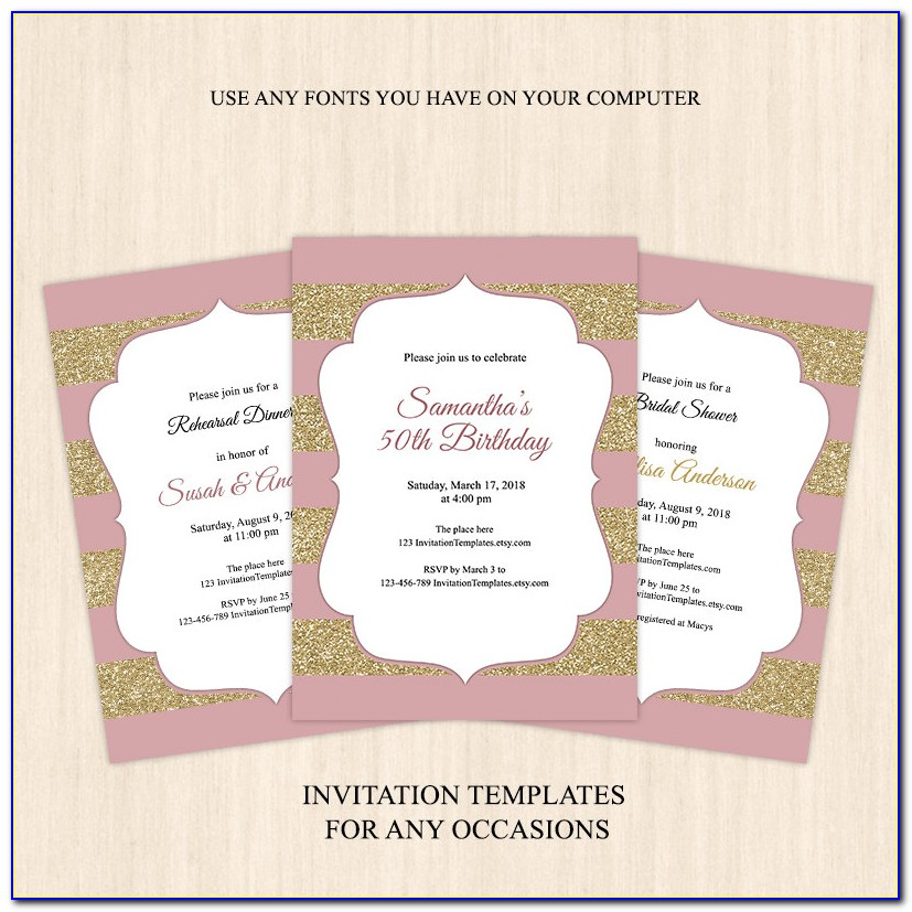 Rose Gold And Black Invitation Template