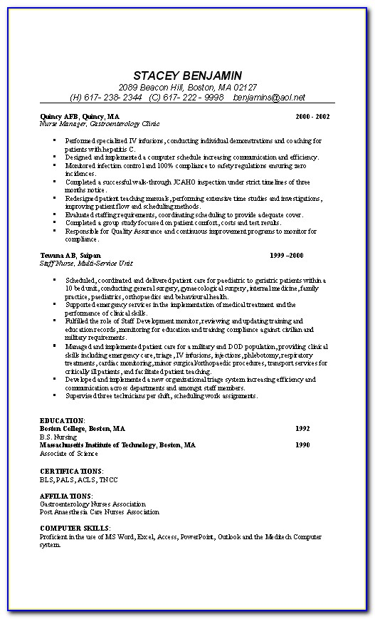Sample Of Cv Resume For Nurses