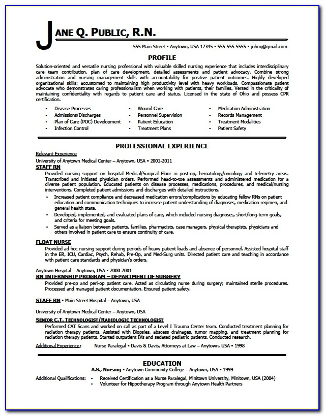 Sample Of Resume For Nurses Without Experience