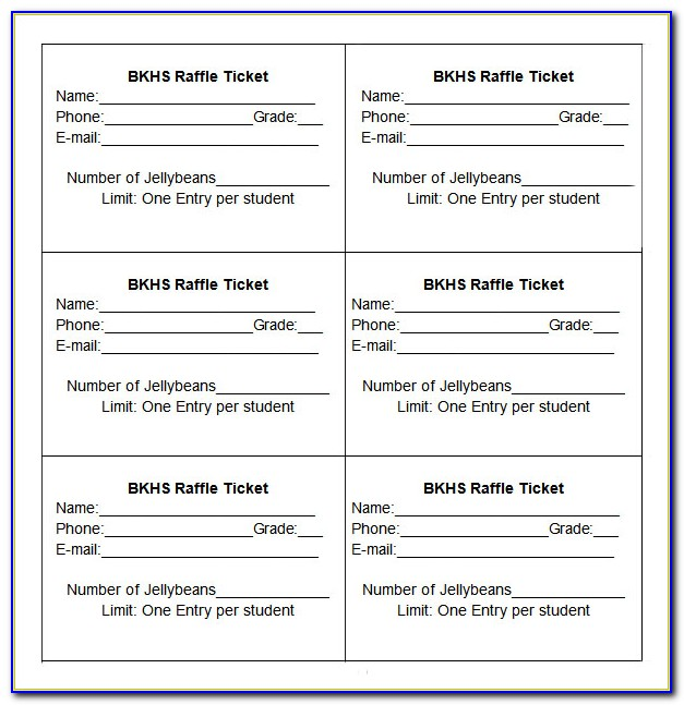 Sample Raffle Tickets Printable