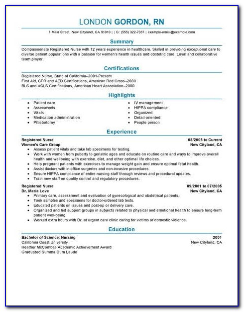 Sample Resume For A New Registered Nurse