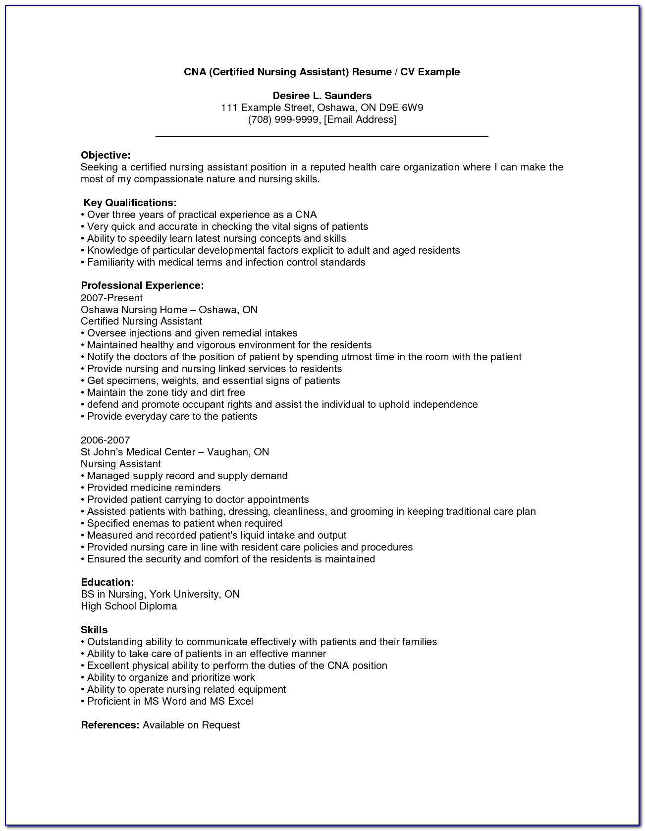 Sample Resume For Assistant Nurse Manager
