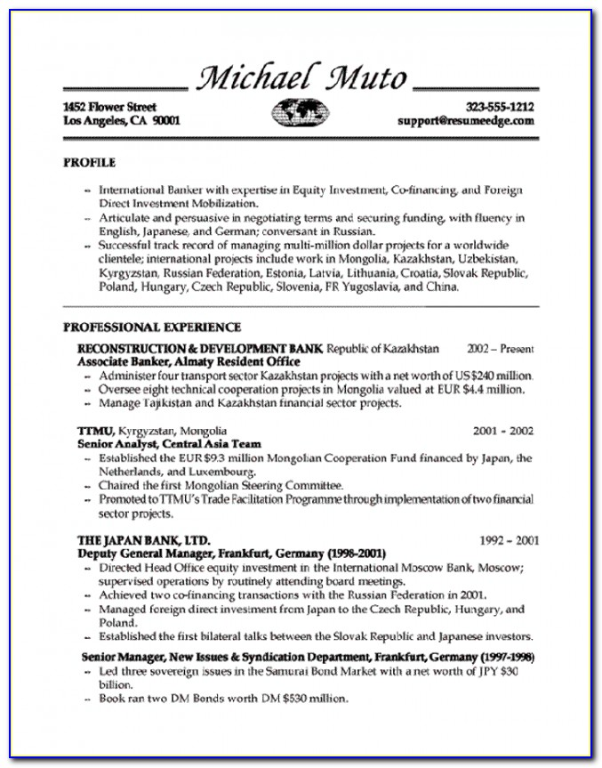 Sample Resume For Bankers