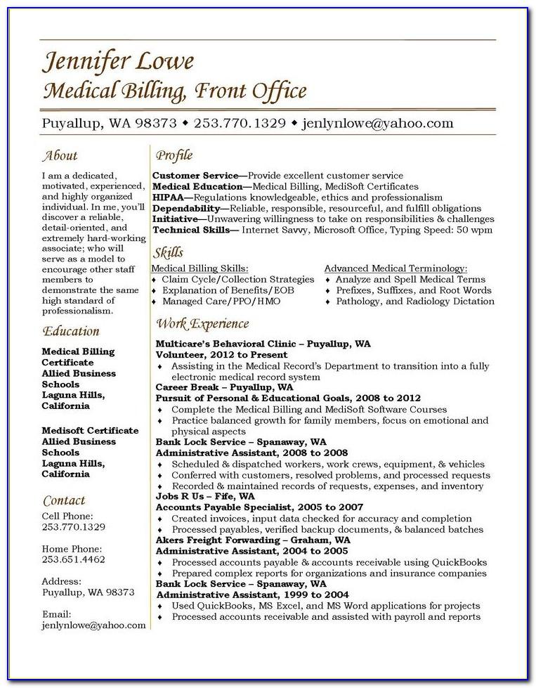 Sample Resume For Entry Level Medical Billing And Coding