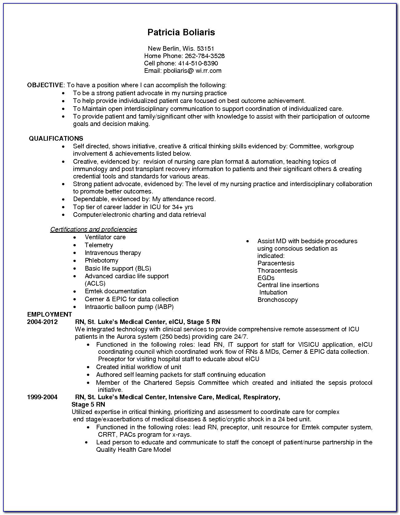 Sample Resume For Icu Registered Nurse