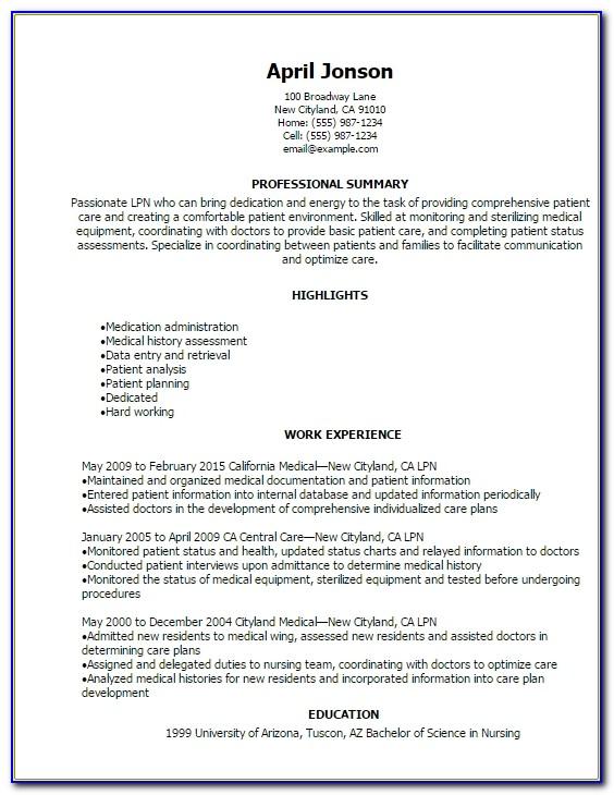 Professional Lpn Resume Templates To Showcase Your Talent Lvn Sample Resume Lvn Sample Resume