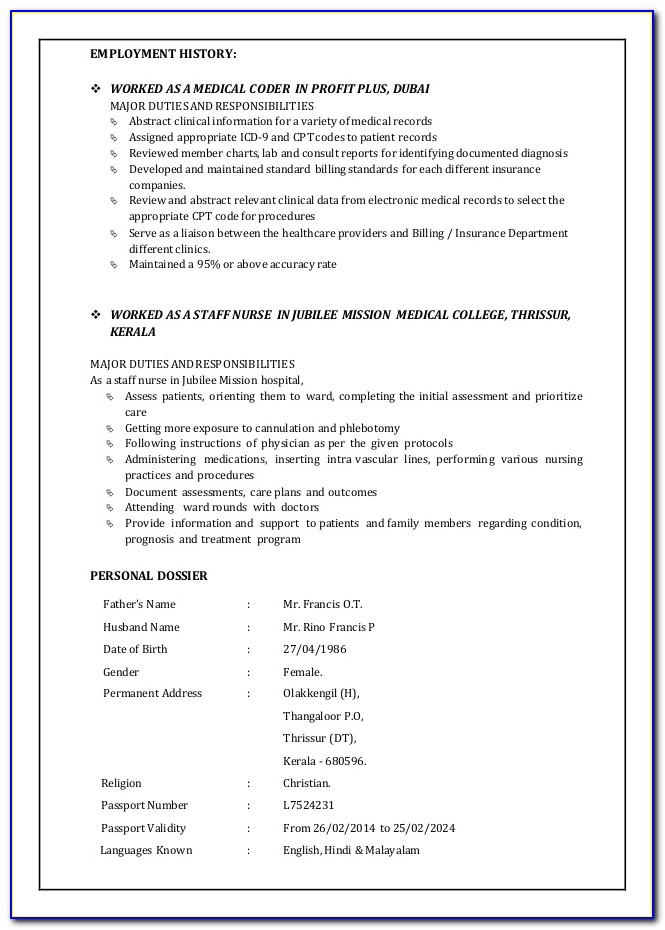 Sample Resume For Medical Coding