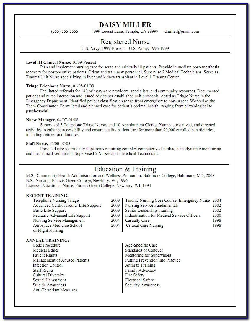 Sample Resume For Registered Nurse In Canada