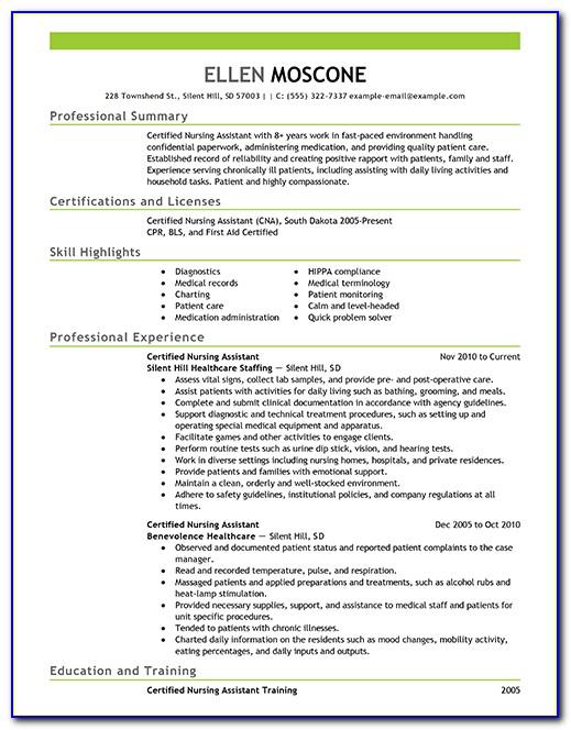 Sample Resume Format For Nursing Assistant