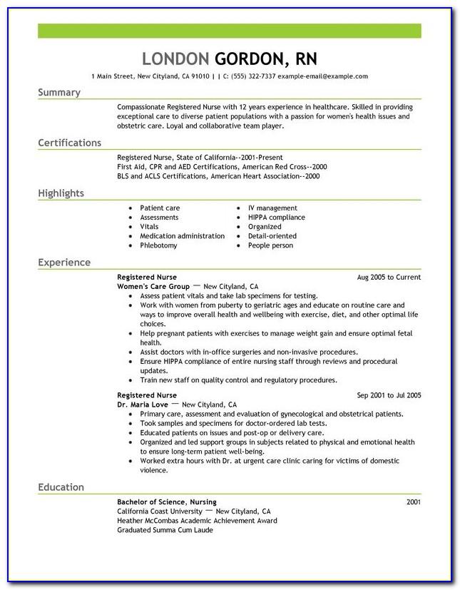 Sample Resume Format For Registered Nurse