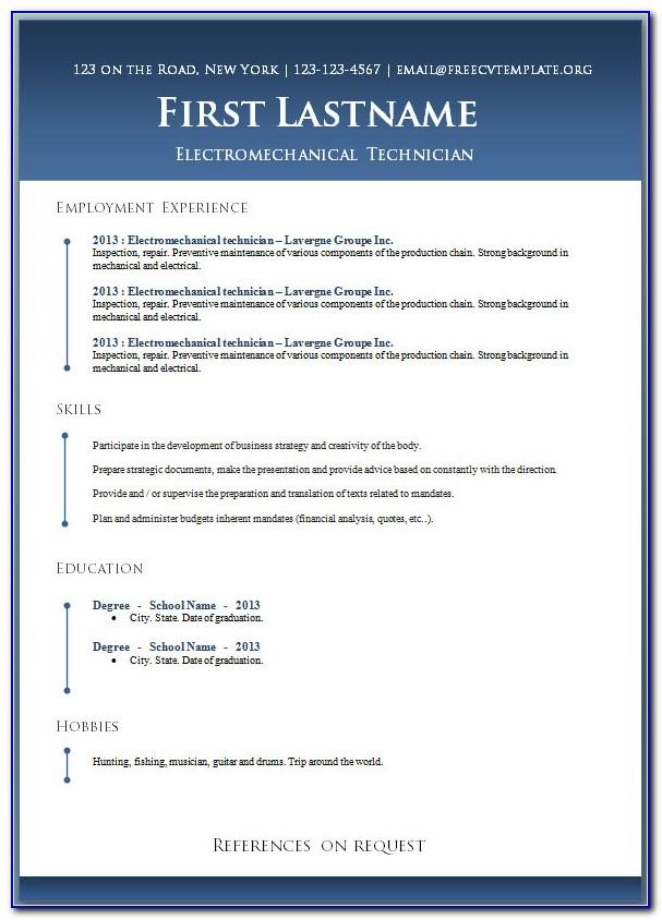 Sample Resume Format In Word File Download