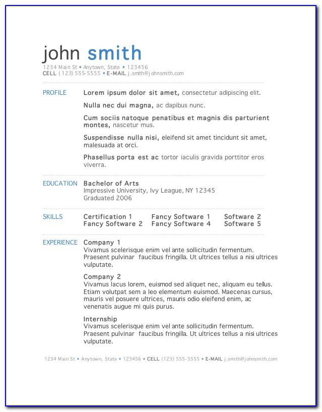 Sample Resume Format In Word File Free Download