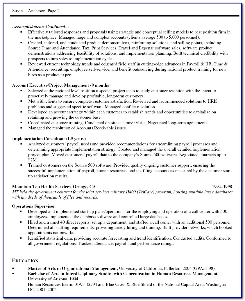 Sample Resume Of A Senior Project Manager