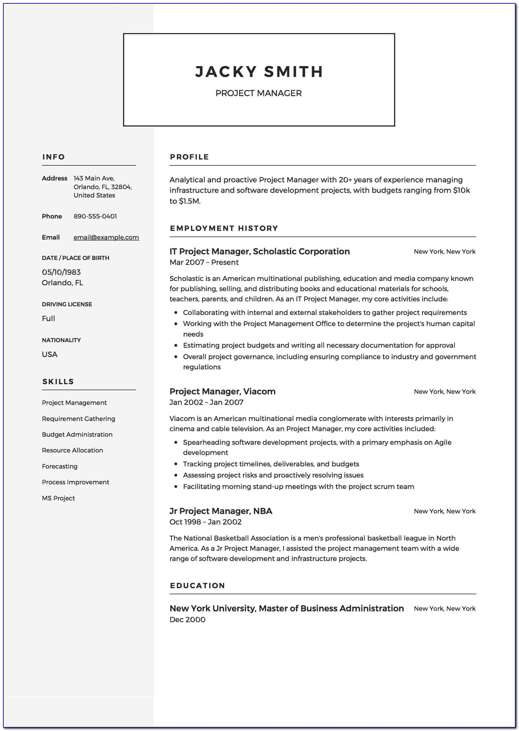 Sample Resume Of Project Manager In Software