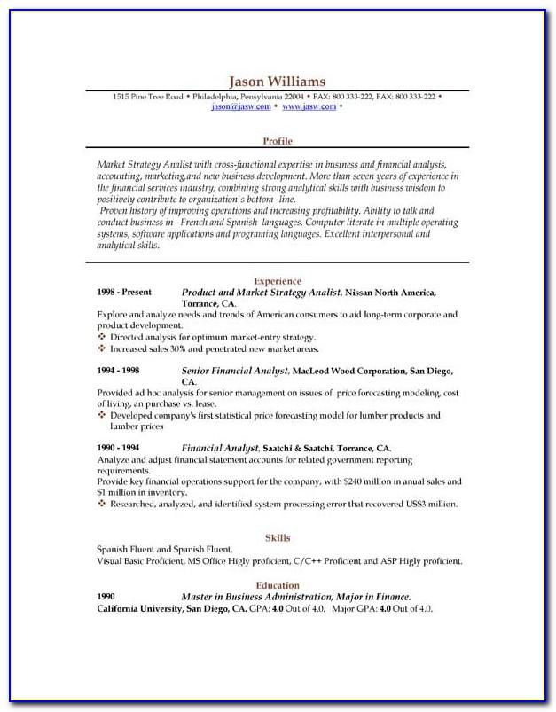 Sample Resume Word Format Download