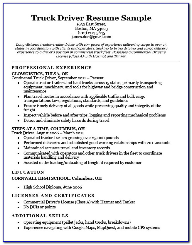 Sample Resumes For Truck Drivers