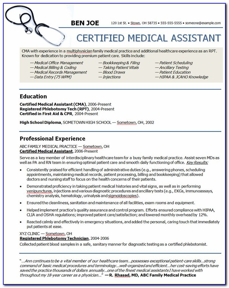 Samples Of Medical Assistant Resumes
