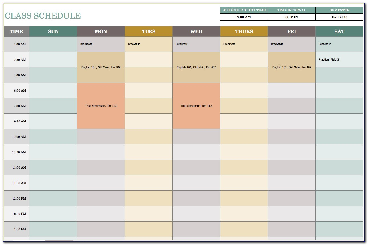 Schedule Template For Excel Weekly