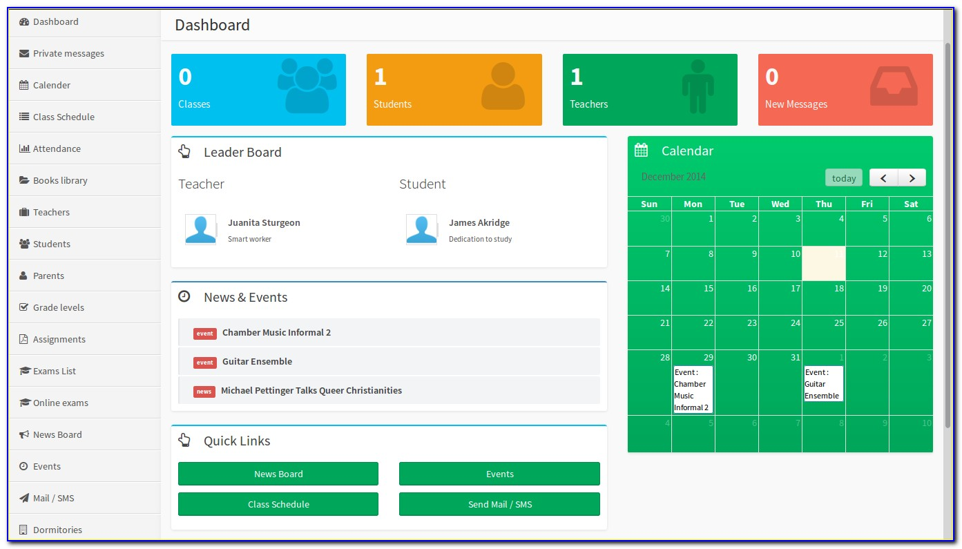 School Management System Dashboard Template Free Download