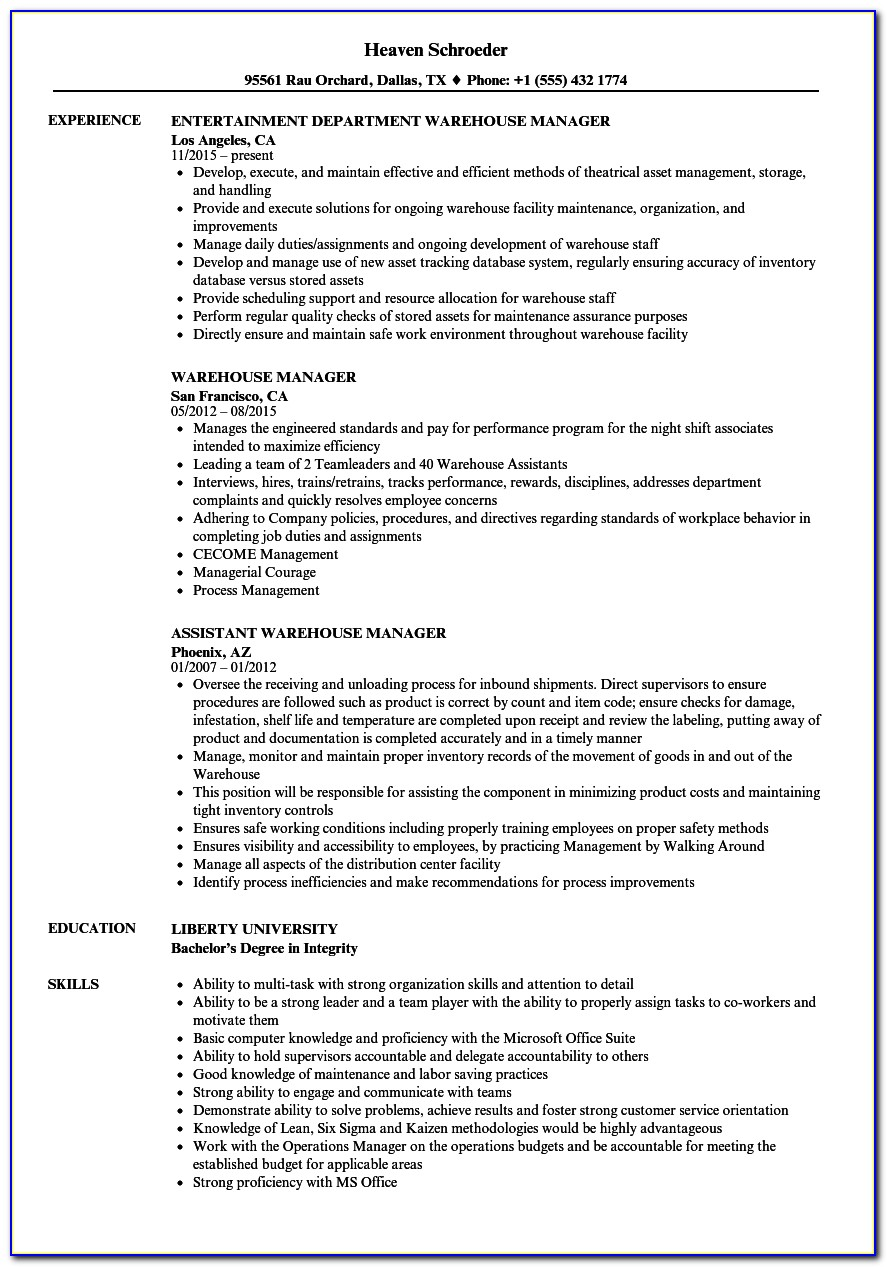 Self Storage District Manager Resume