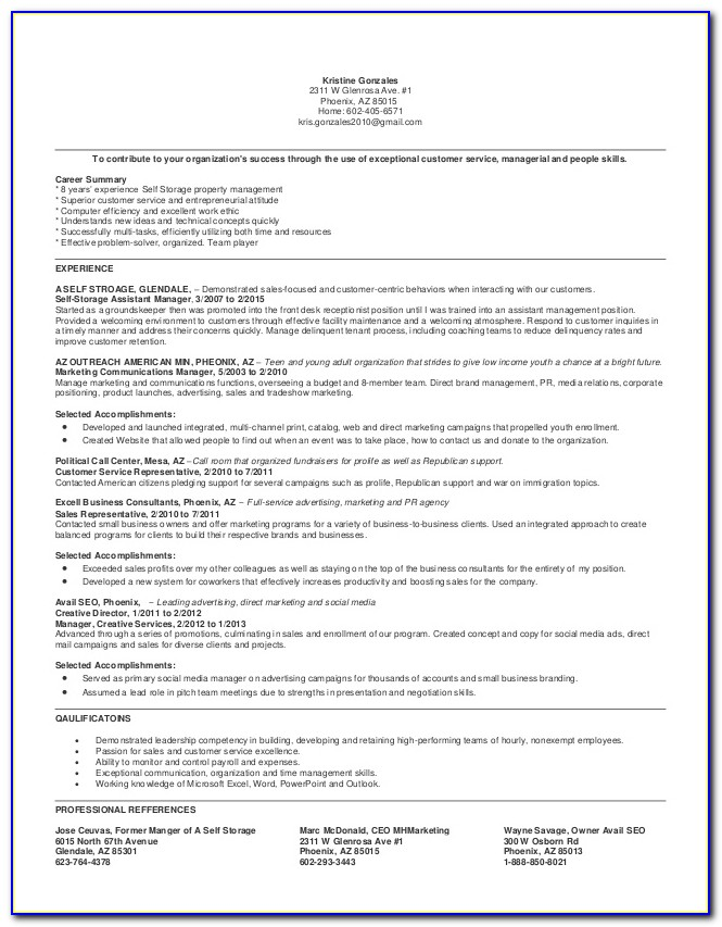 Self Storage Manager Resume Sample