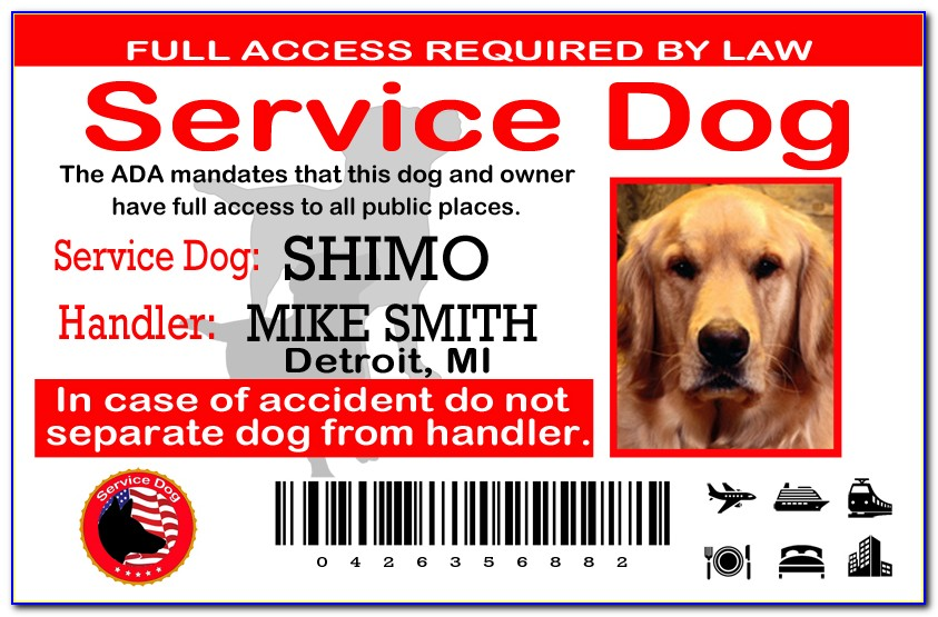 Service Dog Tag Template