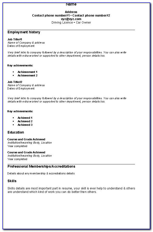 Simple Example Of Resume