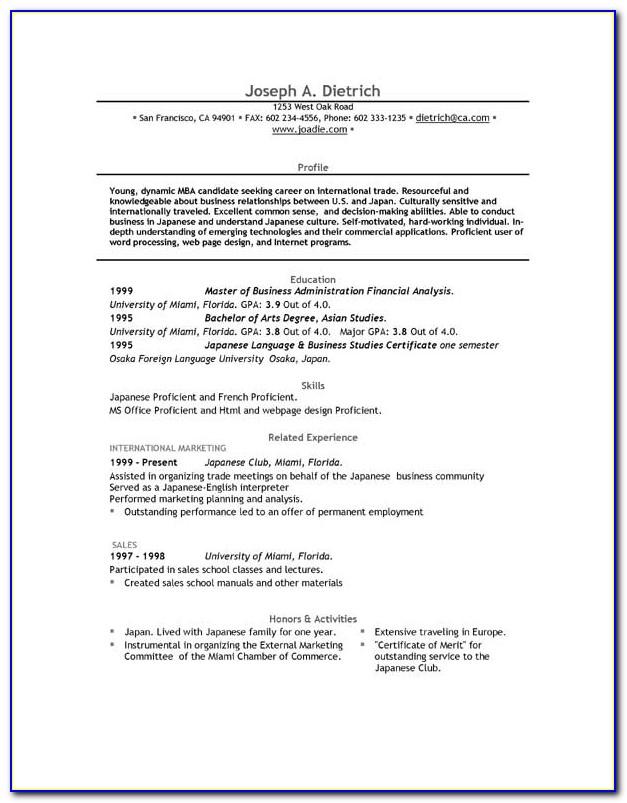 Simple Job Resume Format Download