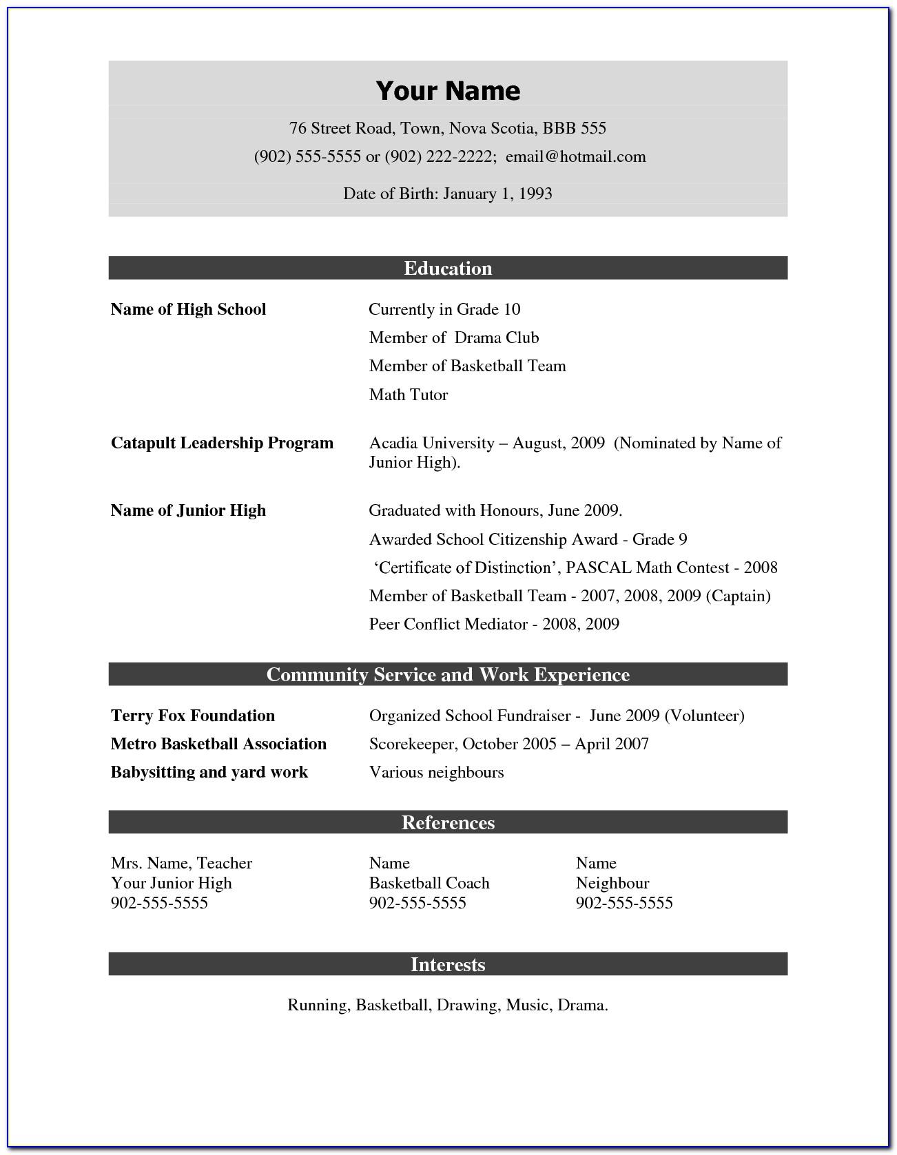 Simple Job Resume Format Pdf Download