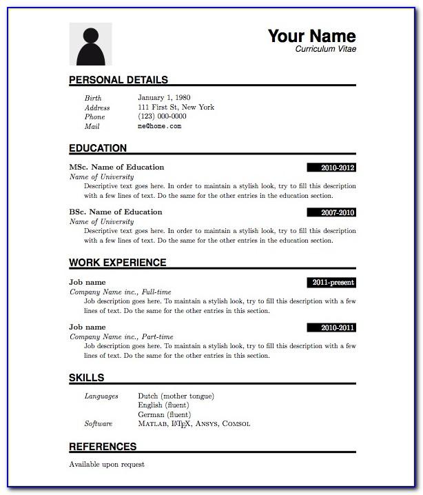 Simple Job Resume Format Pdf
