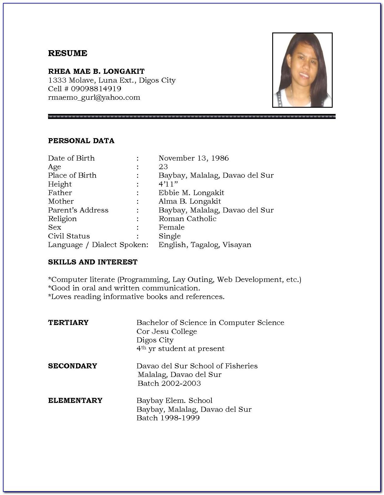 Simple Resume Format Sample For Job