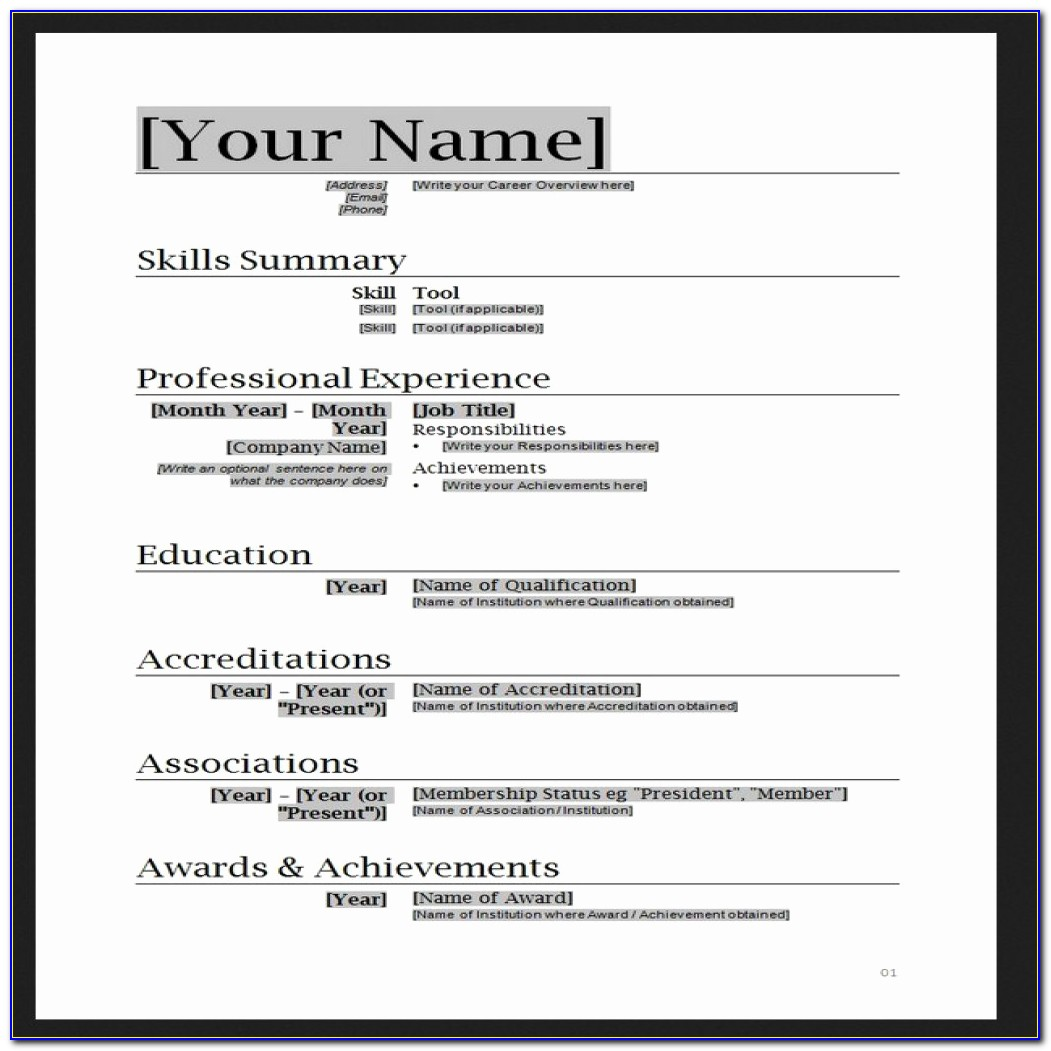 And Free Basic Resume Templates Microsoft Word