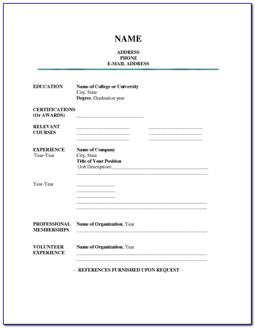 Simple Resume Template Printable