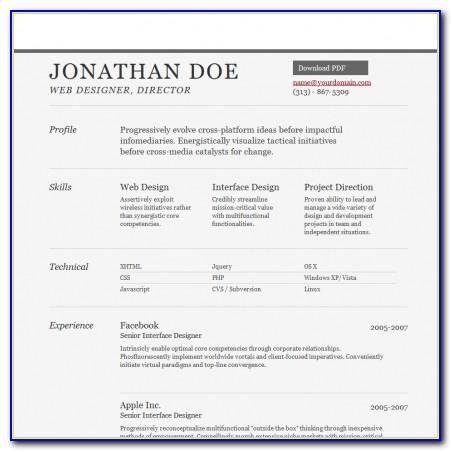 Simple Resume Website Template Free