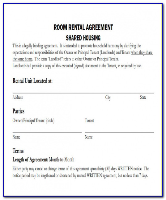 Best Picture Of Room Rental Agreement Template Word From Our Collections
