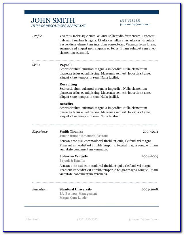 Simple Sample Resume Format Free Download