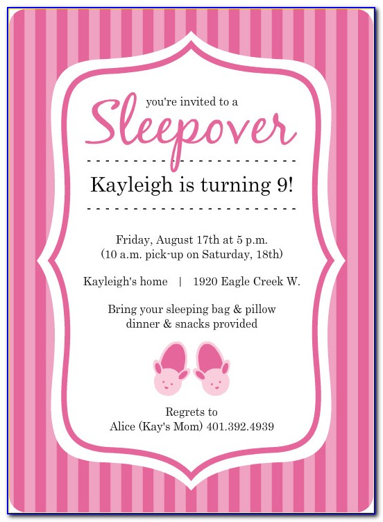 Sleepover Invitation Template Free