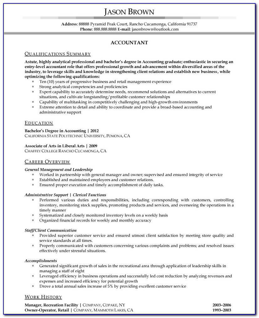 Standard Resume Format For Experienced Accountant