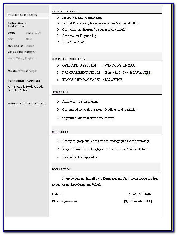 Standard Resume Format For Freshers Doc