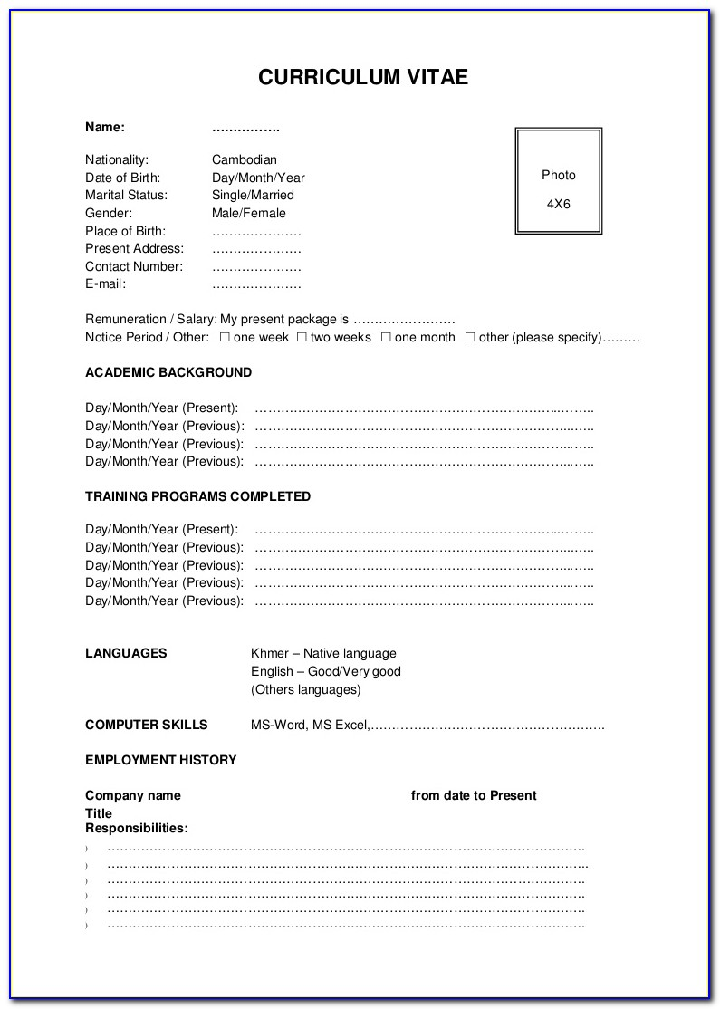 Standard Resume Format Samples