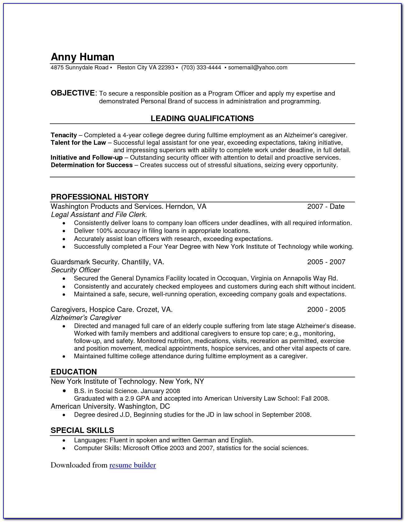 Totally Free Printable Resume
