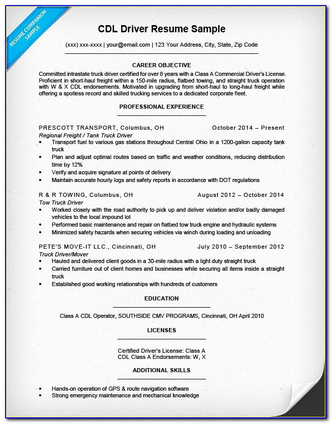 For Truck Driver Resume Templates Free