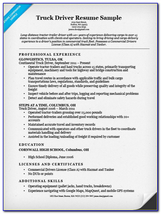 Truck Driver Resume Template Word