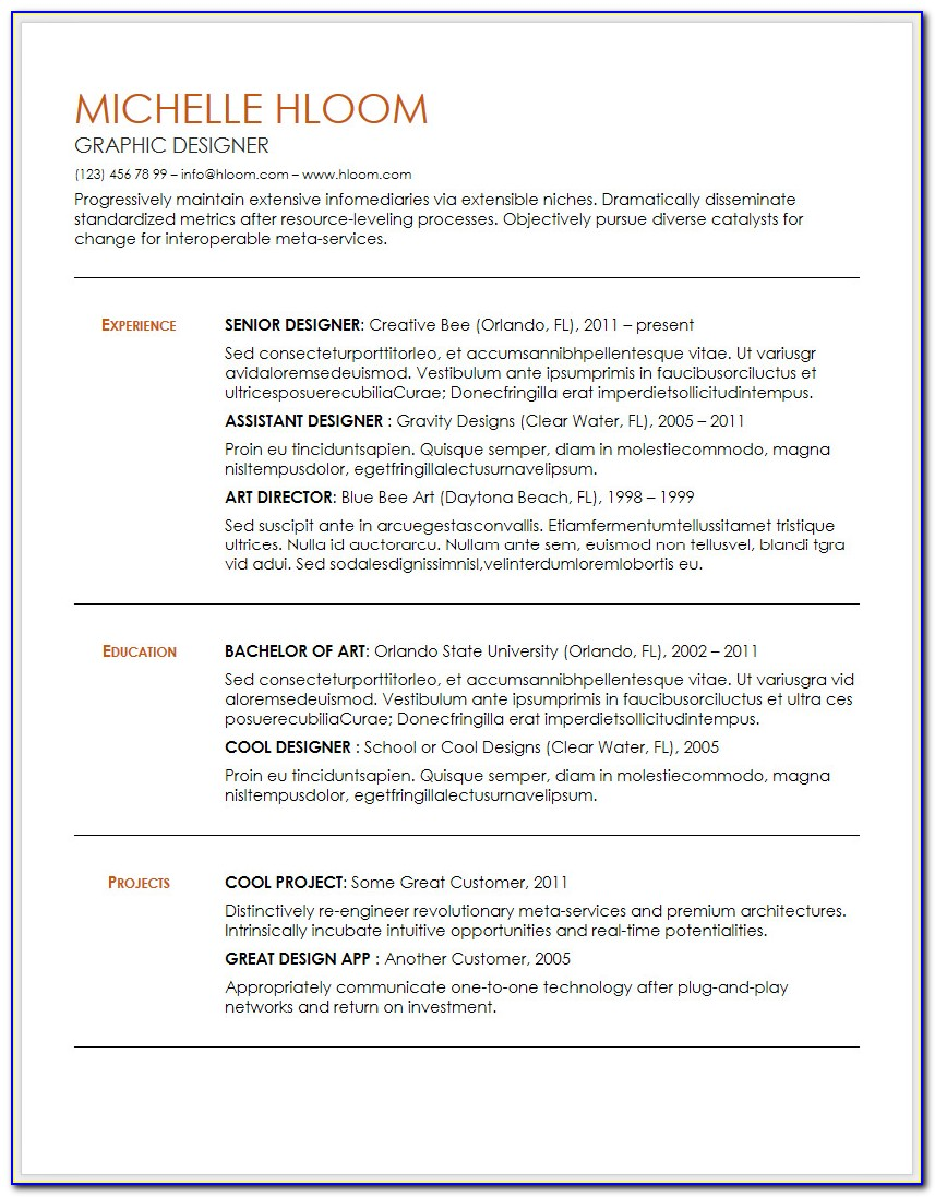 Visual Resume Templates Free Download Doc