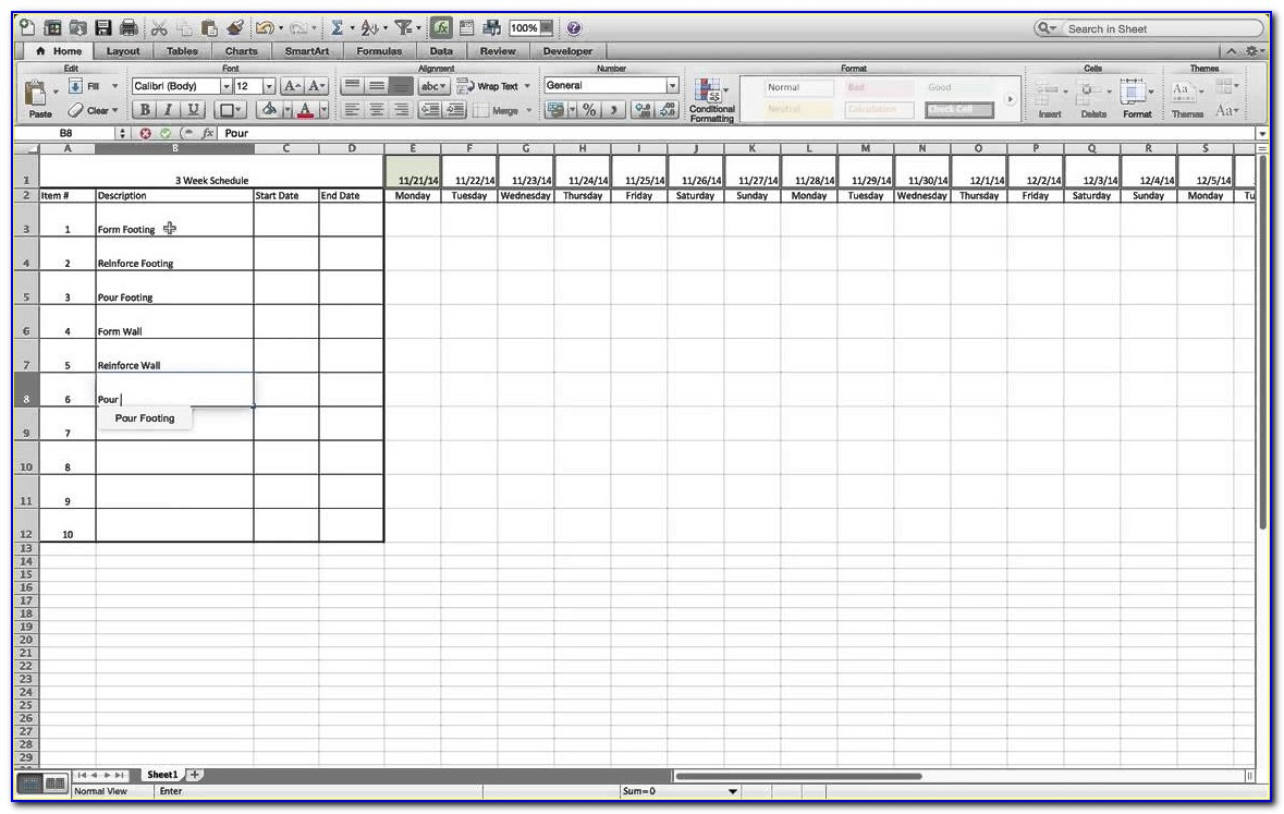 3 Week Look Ahead Schedule Template Excel