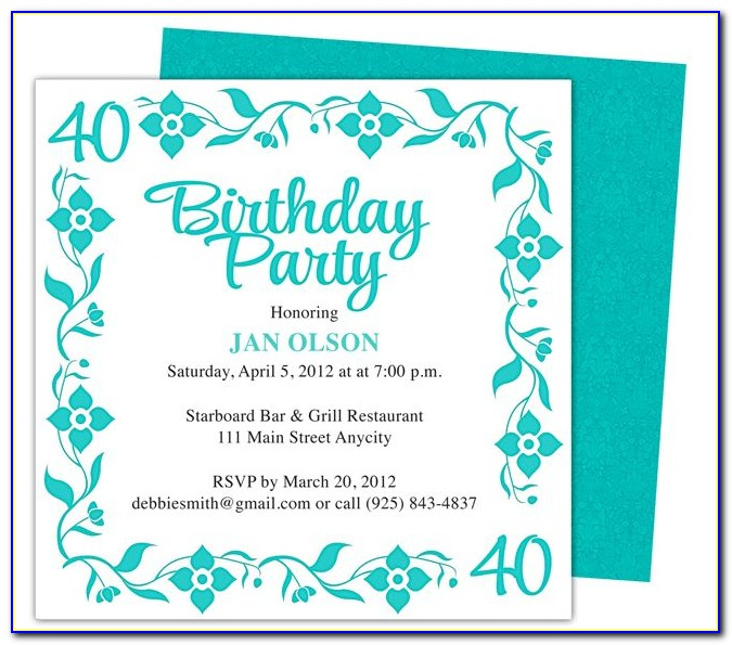 40th Birthday Invitation Templates Free Download