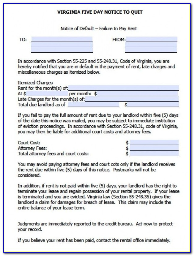 5 Day Eviction Notice Template Virginia