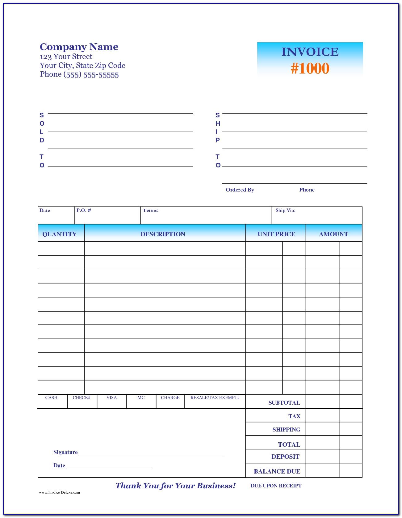 50 Deposit Invoice Template