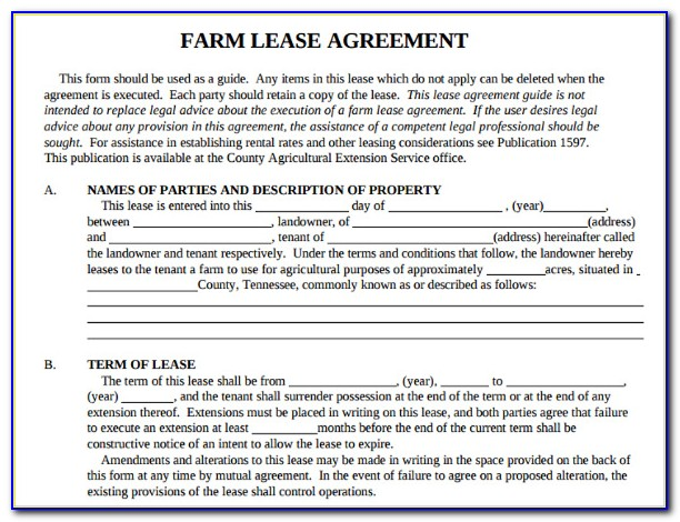 Agricultural Lease Template