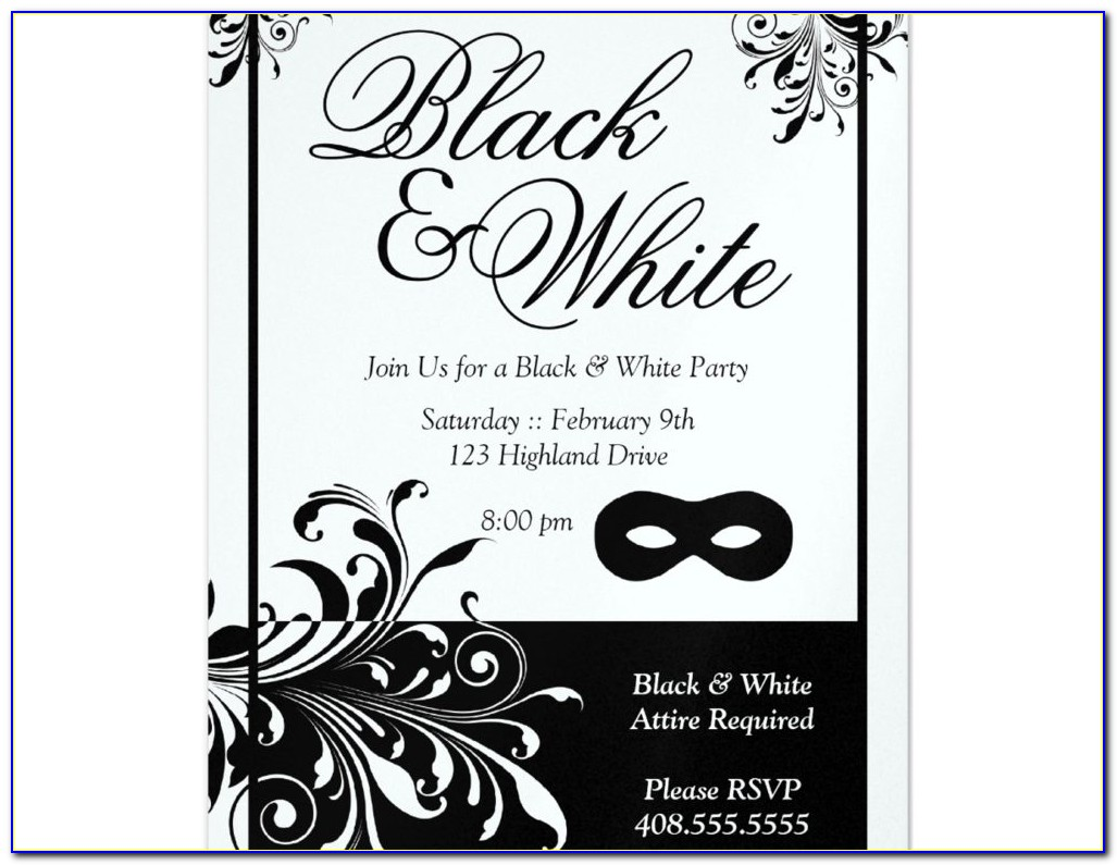 All White Party Invitation Templates